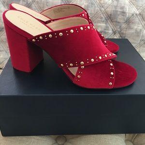 Cole Haan Red Velvet Block Heel Sandals Size 8
